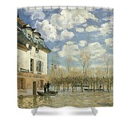 Boat In The Flood At Port Marly Shower Curtain
