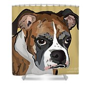Boxer Dog Portrait Shower Curtain
