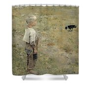 Boy With A Crow Shower Curtain