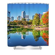 Charlotte City Skyline From Marshall Park Autumn Season With Blu Shower Curtain by Alex Grichenko