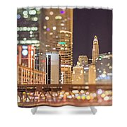 Chicago Illinois Tilt Effect Cityscape At Night Shower Curtain
