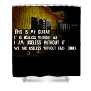 Colorful Music Rock N Roll Guitar Retro Distressed  Shower Curtain