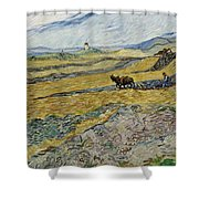 Enclosed Field With Ploughman Shower Curtain