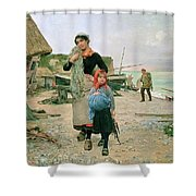 Fisherfolk Returning With Their Nets 1882 Henry Bacon Shower Curtain