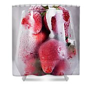 Frozen Strawberry With Sour Cream In Glass Shower Curtain