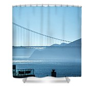 Golden Gate Bridge In Its Beauty At Sunset Shower Curtain