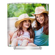 Happy Mother With Daughter Shower Curtain