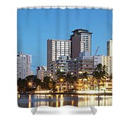 Honolulu Skyline Panorama Shower Curtain