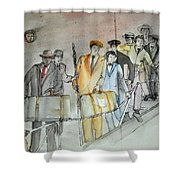 Italians  Ellis Island  Prohibition Album Shower Curtain