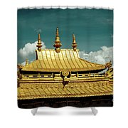 Lhasa Jokhang Temple Fragment Tibet Artmif.lv Shower Curtain by Raimond Klavins