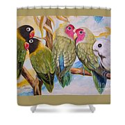 Flygende Lammet     Productions          5 Lovebirds Sitting On A Twig Shower Curtain