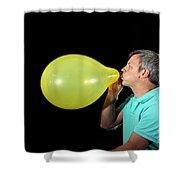 Man Inflating Balloon Shower Curtain