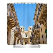 Noto, Sicily, Italy - Detail Of Baroque Balcony, 1750 Shower Curtain
