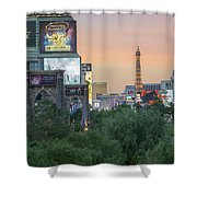 november 2017 Las Vegas, Nevada - evening shot of eiffel tower a Shower Curtain