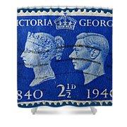 Old British Postage Stamp Shower Curtain