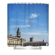 old town Obradoiro Square near santiago de compostela cathedral  Shower Curtain