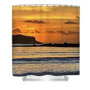 Orange Sunrise Seascape Shower Curtain
