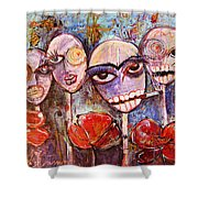 5 Poppies For The Dead Shower Curtain
