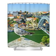 Porto Skyline Seagull Shower Curtain
