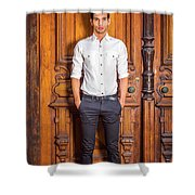 Portrait Of Young American Businessman Shower Curtain