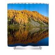 Reflections On Water, Autumn Panorama From Mountain Lake Shower Curtain