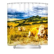 Resting Cows Art Shower Curtain