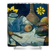 Still Life With Teapot And Fruit Shower Curtain