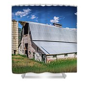 Summer Sunset With A Red Barn In Rural Montana And Rocky Mountai Shower Curtain