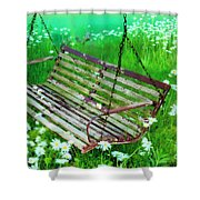 Swing In The Daisies Shower Curtain