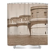 5 Towers Of Lake Murray Sc Sepia Shower Curtain