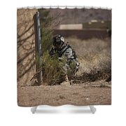 U.s. Soldier Conducts A Combat Training Shower Curtain