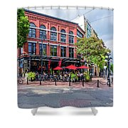 Outdoor Cafe In Gastown, Vancouver, British Columbia, Canada Shower Curtain