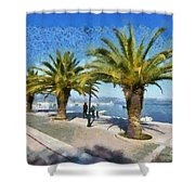 Walkway In Nafplio Town Shower Curtain