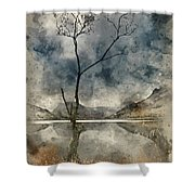 Watercolour Painting Of Beautiful Autumn Fall Landscape Image Of Shower Curtain