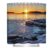 Winter By The Sea Shower Curtain