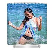 Woman On Beach Shower Curtain