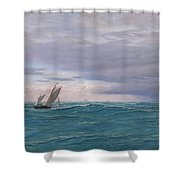 Yachts In A Stormy Sea Shower Curtain