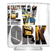 Yellow Cab Speeds Through Times Square In New York, Ny, Usa.  Shower Curtain