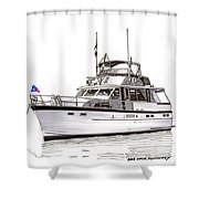 50 Foot Hatteras Motoryacht Shower Curtain