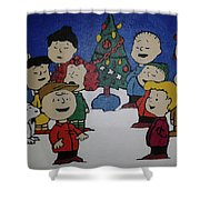 50 Years A Charlie Brown Christmas Acrylic Painting Shower Curtain