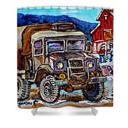 50's Dodge Truck Red Wood Barn Outdoor Hockey Rink  Art Canadian Winter Landscape Painting C Spandau Shower Curtain