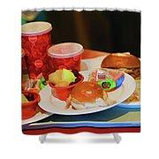 50's Style Food Malt Hamburger Tray  Shower Curtain