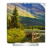 Landscape Painting Acrylic Shower Curtain