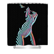 5291s-mak Nude Female Torso Rendered In Composition Style Shower Curtain