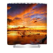 W H Landscape Shower Curtain