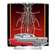 55 Chevy Pinstriping Shower Curtain