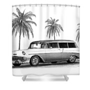 56 Chevy Wagon Shower Curtain