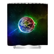 56996 3d Space Scene Colorful Digital Art Earth Shower Curtain