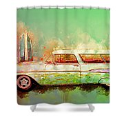 57 Chevy Nomad Wagon Blowing Beach Sand Shower Curtain