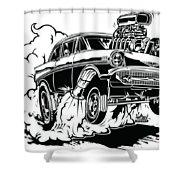 '57 Gasser Cartoon Shower Curtain